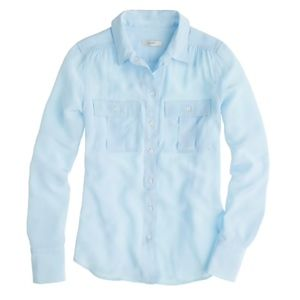 J Crew Blythe Blouse in Light Blue